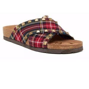 Sam Edelman Arina cross vamp sandal plaid new